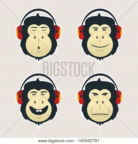 Set of monkey heads with headphones. DJ monkey listens music.