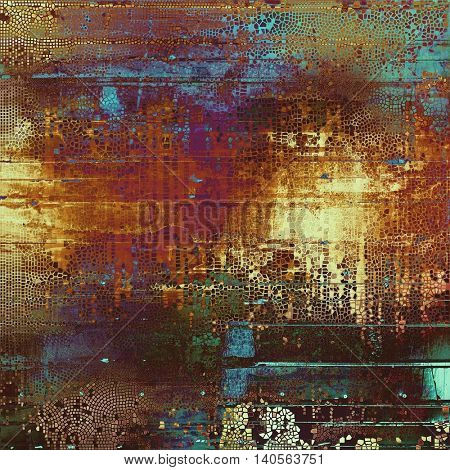 Grunge texture, aged or old style background with retro design elements and different color patterns: yellow (beige); brown; green; blue; red (orange); purple (violet)
