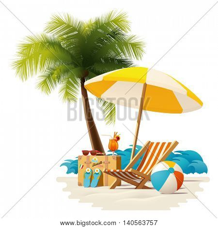 Vector travel and summer beach vacation relax icon