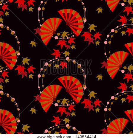 The pattern in the Japanese style with fans and autumn leaves. On a black background circle of beads, in which there are two fans and falling maple leaves.