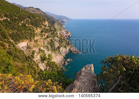 Beautiful coastline of Ligurian Sea, Italy