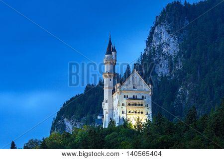 Neuschwanstein Castle in the Bavarian Alps at night, Germany