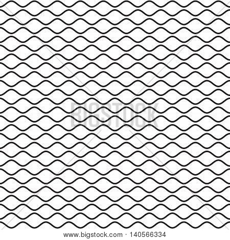 Black wavy line seamless pattern. Waves lines on white background. Ripple texture. Waviness vector illustration in EPS8 format.