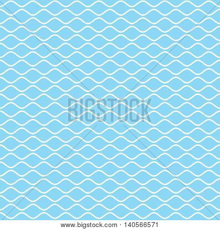 Wavy line seamless pattern. White wave lines on sky blue background. Ripple marine texture. Waviness vector graphics.