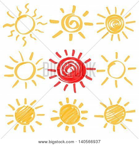 Highlighter marker summer sun design elements. Set of sun symbols hand drawn by yellow and red highlighters. Optimized for one click color changes. Vector in EPS10 format with transparent colors.
