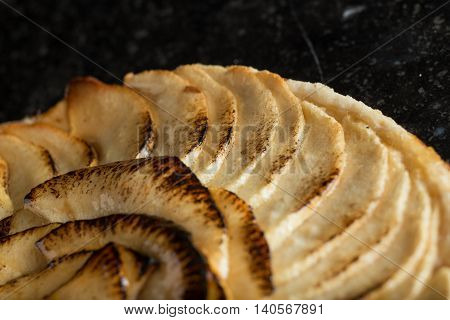 Apple Tart. Traditional French Sweet Dessert On Dark Marble Background. Delicious, Appetizing, Homem