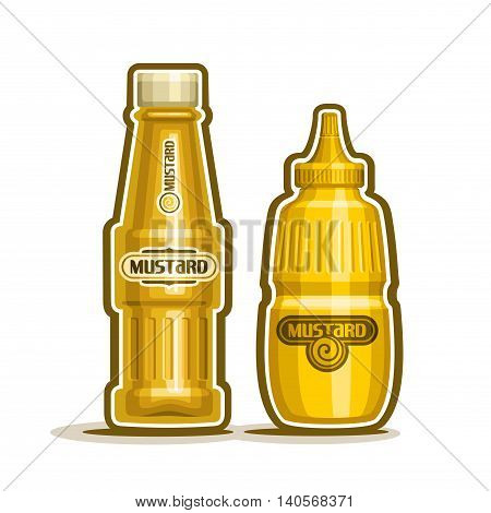 Vector logo mustard jar, yellow plastic squeeze bottle squirt and glass cartoon container dispenser dijon spicy paste. Yellow Mustard Jar for kitchen american cafe bistro fast food on white background
