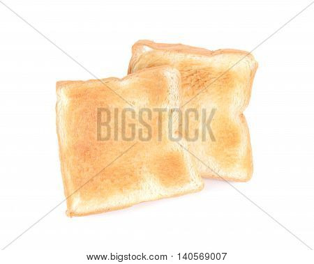 Toast slice bread on a white background.
