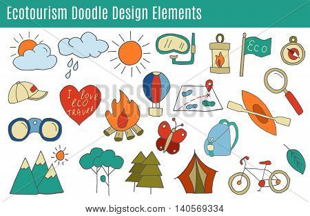 Set of ecotourism design elements in flat style isolated on a white background. Doodle eco green environmental nature logo concept. Hand drawn eco tourism vector illustration.