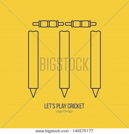 Cricket stamps and bails. Single logo in modern thin line style isolated on yellow background. Outline cricket game symbol. Simple mono linear pictogram. Stroke vector logotype template.