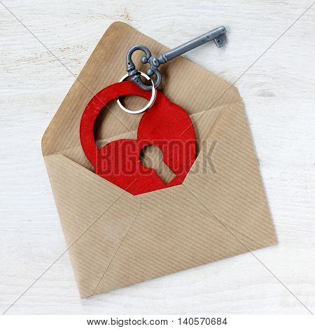 romantic letter with an attachment in the form of a heart and key / declaration of love