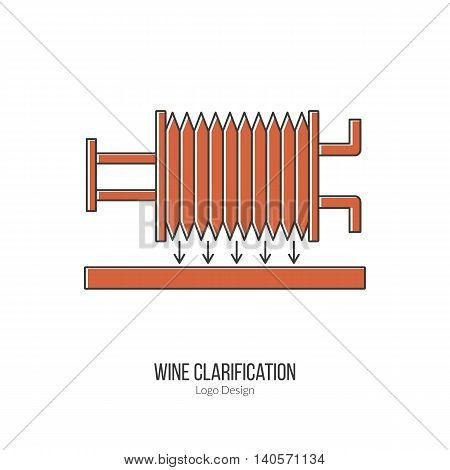 Wine filter pump system. Single logo in modern flat and thin line style isolated on white background. Outline winery symbol. Simple mono linear pictogram. Stroke vector logotype template.