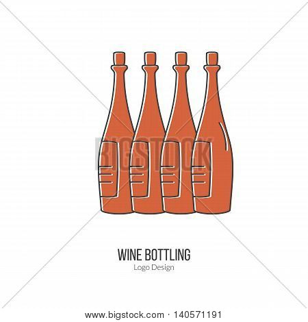 Wine bottles. Single logo in modern thin line style isolated on white background. Outline winery symbol. Simple mono linear pictogram. Stroke vector logotype template.