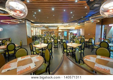 MACAO, CHINA - FEBRUARY 17, 2016: a restaurant in Macau International Airport. Macau International Airport is an international airport in the special administrative region of Macau.