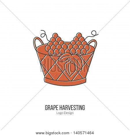Harvesting basket with grapes. Single logo in modern flat and thin line style isolated on white background. Outline winery symbol. Simple mono linear pictogram. Stroke vector logotype template.
