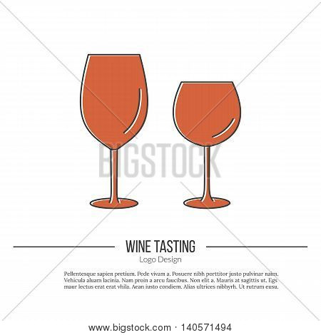 Wineglasses. Single logo in modern flat and thin line style isolated on white background. Outline winery symbol. Simple mono linear pictogram. Stroke vector logotype template.