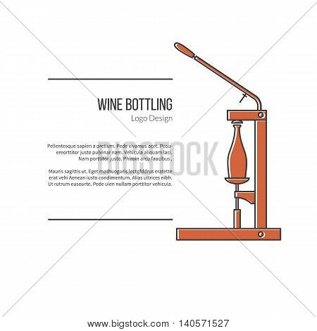 Wine bottle corker. Single logo in modern flat and thin line style isolated on white background. Outline winery symbol. Simple mono linear pictogram. Stroke vector logotype template.