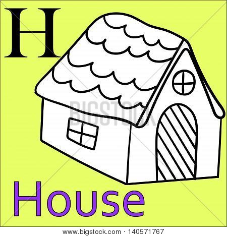 H letter of the alphabet. Developmental exercises for children, coloring books. Vector Illustration Graphics house