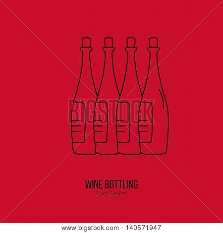 Wine bottles. Single logo in modern thin line style isolated on red background. Outline winery symbol. Simple mono linear pictogram. Stroke vector logotype template.