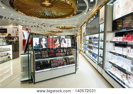 MACAO, CHINA - FEBRUARY 17, 2016: inside of Macau International Airport. Macau International Airport is an international airport in the special administrative region of Macau.