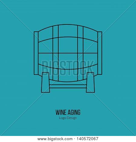 Oak wine barrel. Single logo in modern thin line style isolated on colored background. Outline winery symbol. Simple mono linear pictogram. Stroke vector logotype template.