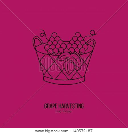 Harvesting basket with grapes. Single logo in modern thin line style isolated on red background. Outline winery symbol. Simple mono linear pictogram. Stroke vector logotype template.