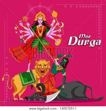 Indian Goddess Durga killing Mahishasura. Vector illustration
