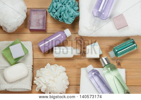 Toiletry Set. Soap Bar And Liquid. Shampoo, Shower Gel Body Milk, Towel. Spa Kit. Top View