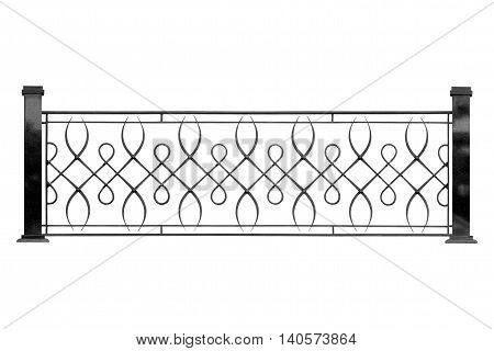 Decorative forged banisters fencing. Isolated over white background.