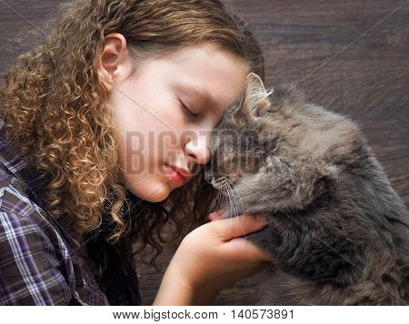 Cat and girl nose to nose. Tenderness love friendship. Sweet and loving picture of friendship and child cat