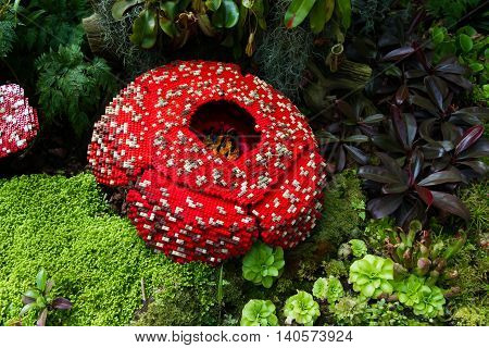 Corpse flower is made of interlocking plastic bricks toy. Corpse flower is the largest individual flower on earth. Stinking corpse lily. Scientific name is Rafflesia Arnoldii Rafflesia kerrii.