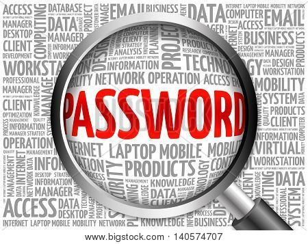 Password Word Cloud With Magnifying Glass