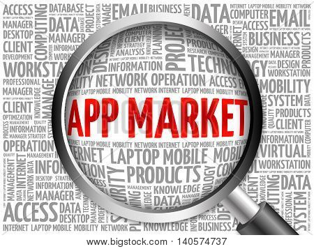 App Market Word Cloud With Magnifying Glass