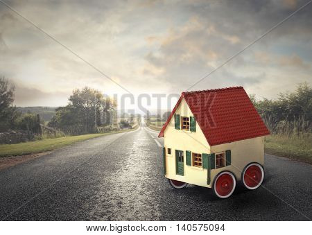 Mobile house on the road