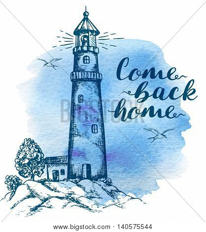 Hand drawn background with lighthouse in vintage style.