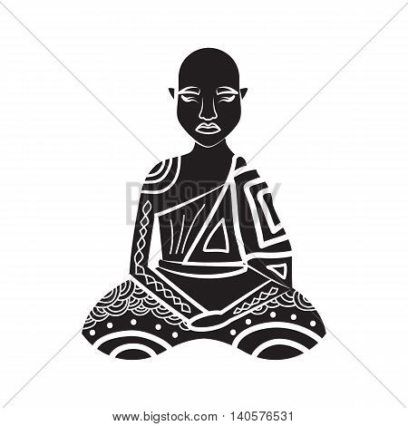 Thai monk icon in simple style on a white background