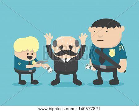 Business concept cartoon illustration corruption arrested eps