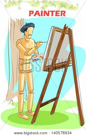 Wooden human mannequin Painter artist painting on easel. Vector illustration