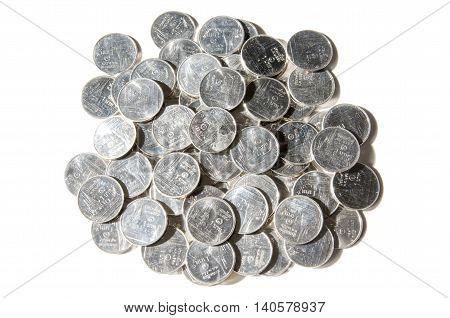 Coin on white background (Thai one Bath)