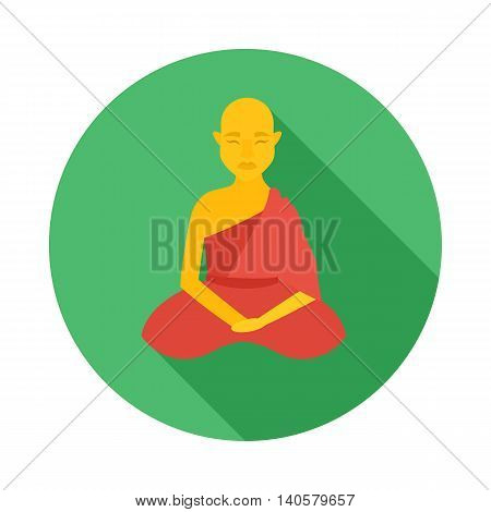 Sitting buddhist monk icon in flat style on a white background
