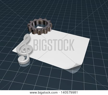 gear wheel and metal clef on white paper sheet - 3d rendering