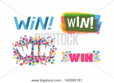 Win sign with colour confetti vector paper illustration.