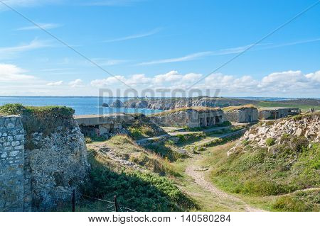 scenery around Kerbonn fortifications at Pointe de Pen-Hir in Brittany France