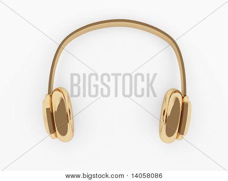Golden headphones on white background