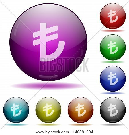 Set of color Turkish Lira sign glass sphere buttons with shadows.