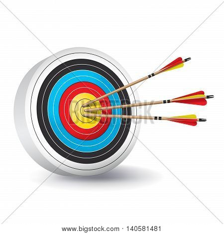 A traditional archery target with colorful rings and wooden red and yellow fletched arrows in the bullseye. Vector EPS 10 available.
