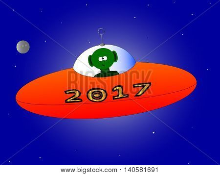 A new year message mesage from a flying saucer and alien.