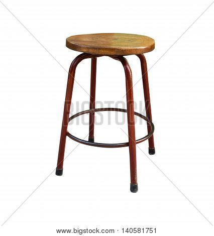 Wooden steel legs simplistic bar chair. Isolated on white background with copy space and clipping path