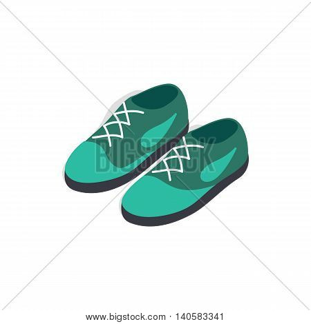 Turquoise shoes with laces icon in isometric 3d style on a white background