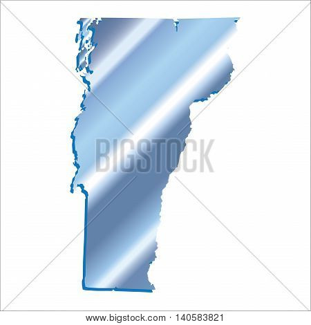 3D Vermont (USA) Iridium Blue Boundary map with shadow